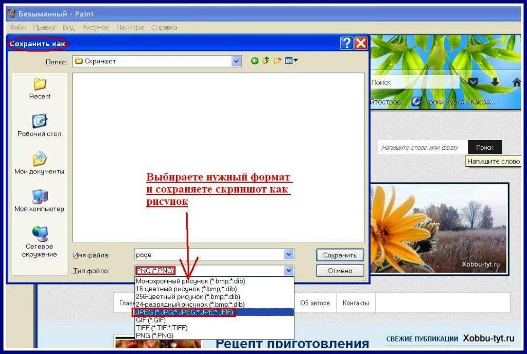 Как сделать скриншоты в формате jpg